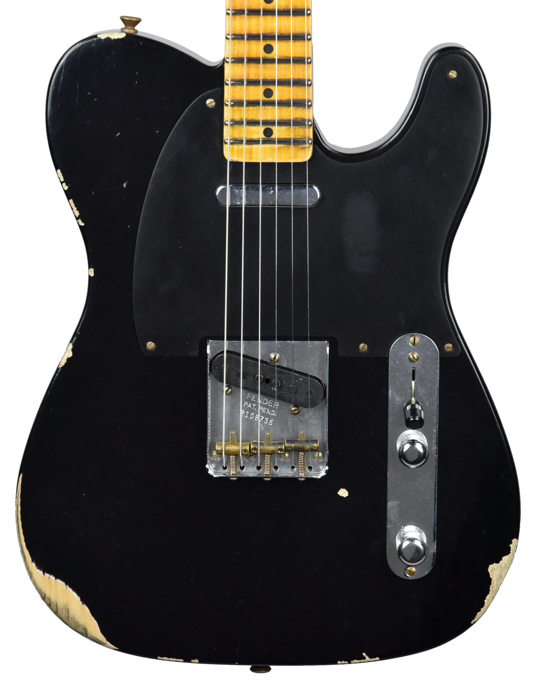 Fender Custom Shop 50s Telecaster Relic 1 Piece Ash in Black R108736 - The Music Gallery