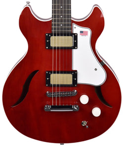 Harmony Comet Semi-Hollow Electric Guitar in Transparent Red 2210291 - The Music Gallery
