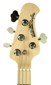 Ernie Ball Music Man StingRay Bass in Black - Front Headstock