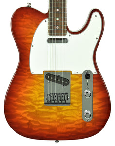 Used 2014 Fender Custom Shop Custom Deluxe Telecaster Quilt Top in Cherry Sunburst 9525