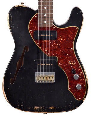Used Fender Custom Shop Masterbuilt 68 Telecaster Thinline Relic by Greg Fessler in Black R97655 - The Music Gallery
