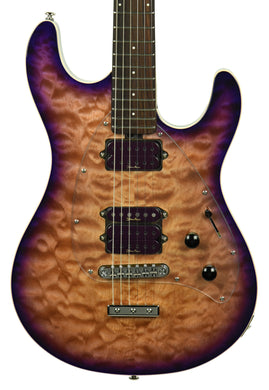 Used Music Man Steve Morse SM-Y2D in Purple Sunset Custom Quilt top G92230 - The Music Gallery