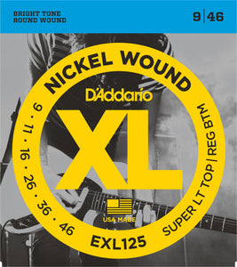 D'Addario Super Light Top/Regular Bottom .009-.046 EXL125 Nickel Wound Electric Guitar Strings - The Music Gallery