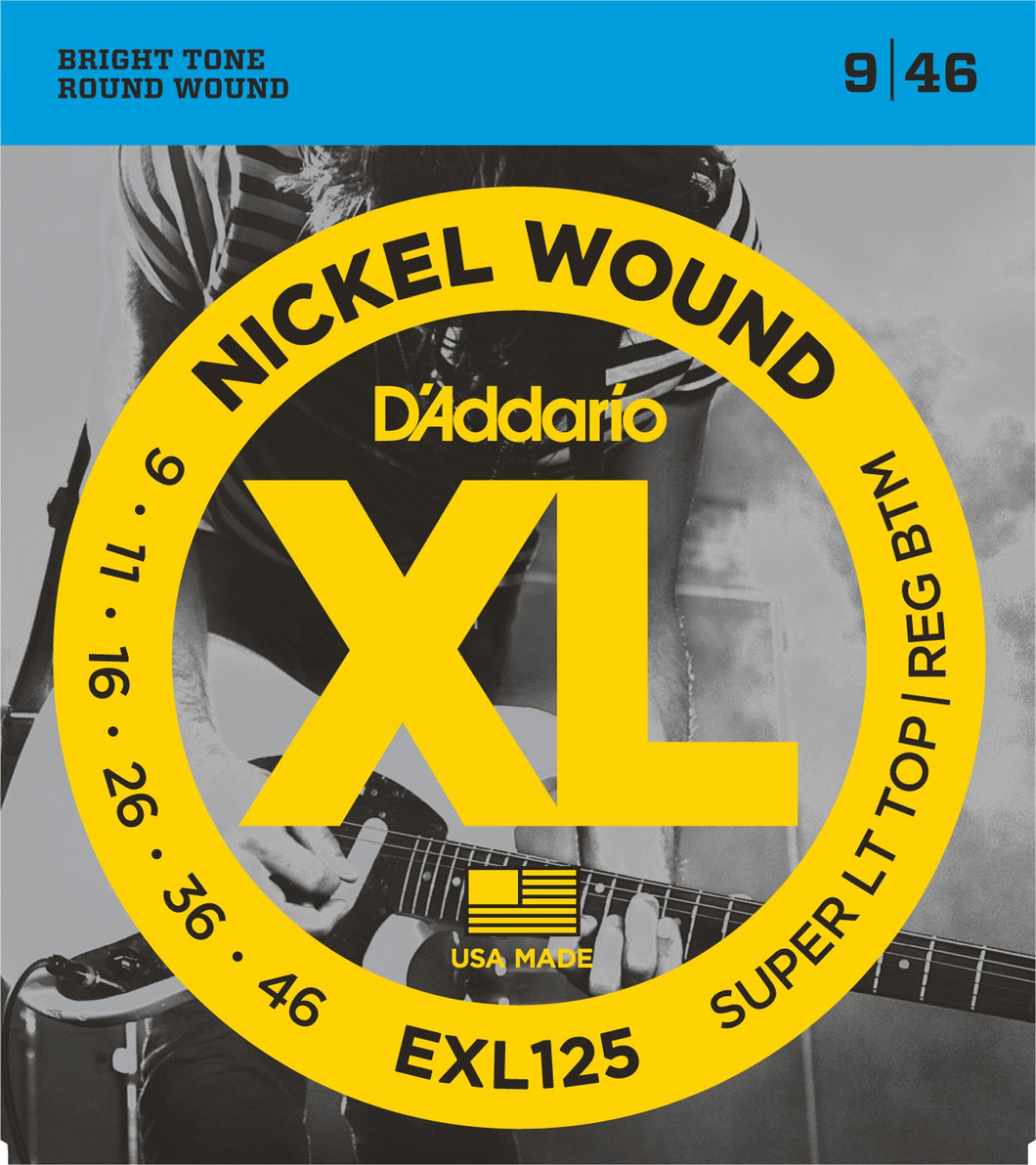 D'Addario Super Light Top/Regular Bottom .009-.046 EXL125 Nickel Wound Electric Guitar Strings | The  Music Gallery