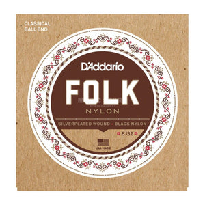 D'Addario EJ32 Folk Nylon Ball End Silver Wound/Black Nylon Acoustic Guitar Strings