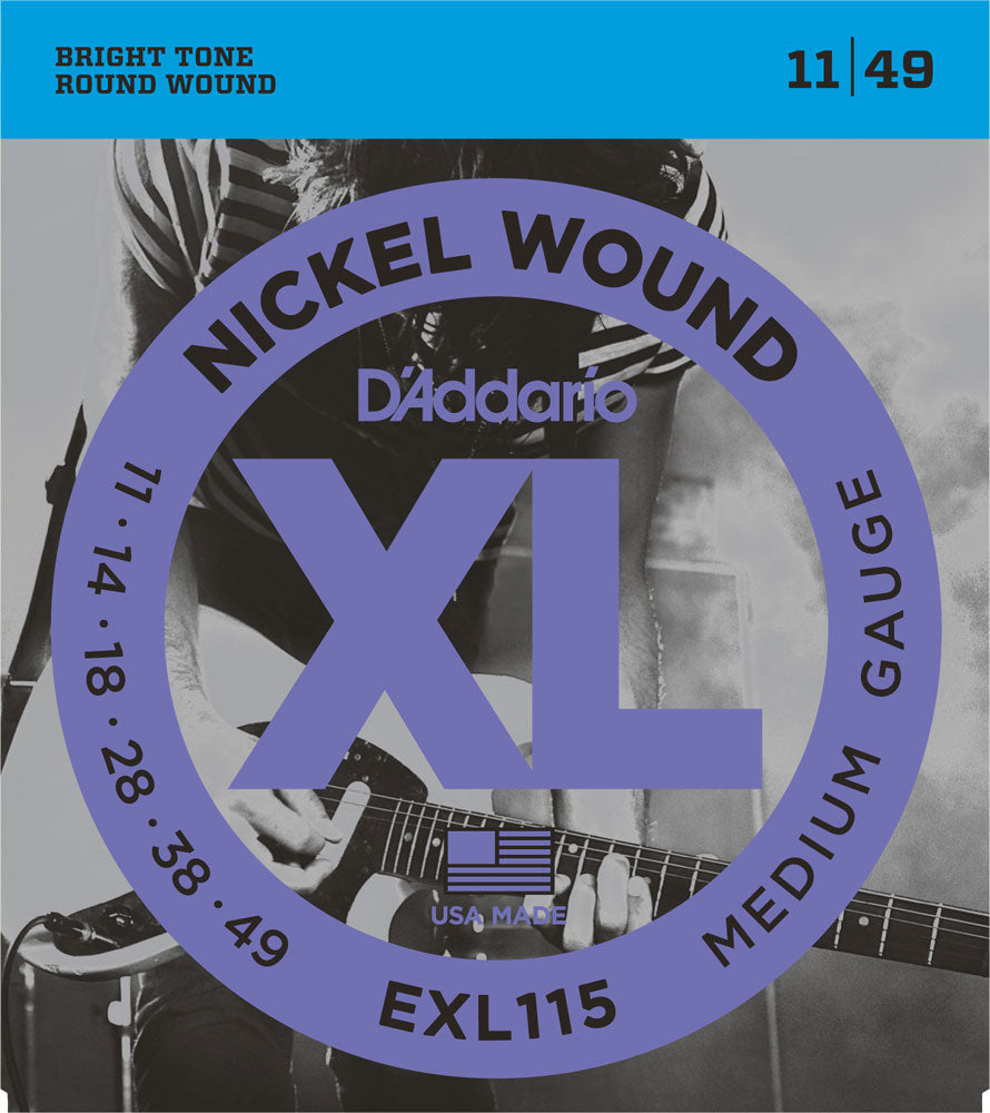 D'Addario Medium .011-.049 EXL115 Nickel Wound Blues-Jazz Rock Electric Guitar Strings - The Music Gallery