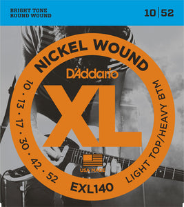 D'Addario Light Top/Heavy Bottom .010-.052 EXL140 Nickel Wound Electric Guitar Strings
