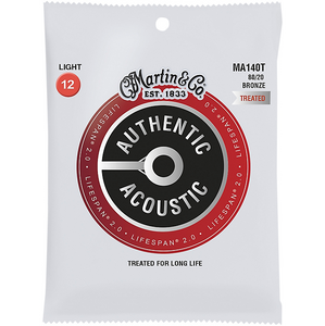 Martin MA140T Light .012-.054 80/20 Bronze Treated Authentic Acoustic Guitar Strings - The Music Gallery