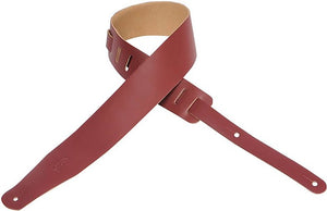 "Levy's Chrome 2.5"" Leather Guitar Strap - Burgundy"