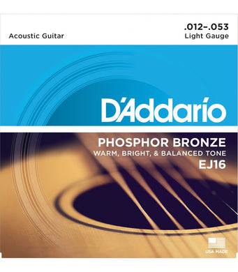 D'Addario EJ16 .012-.053 Phosphor Bronze Light Acoustic Guitar Strings | The  Music Gallery