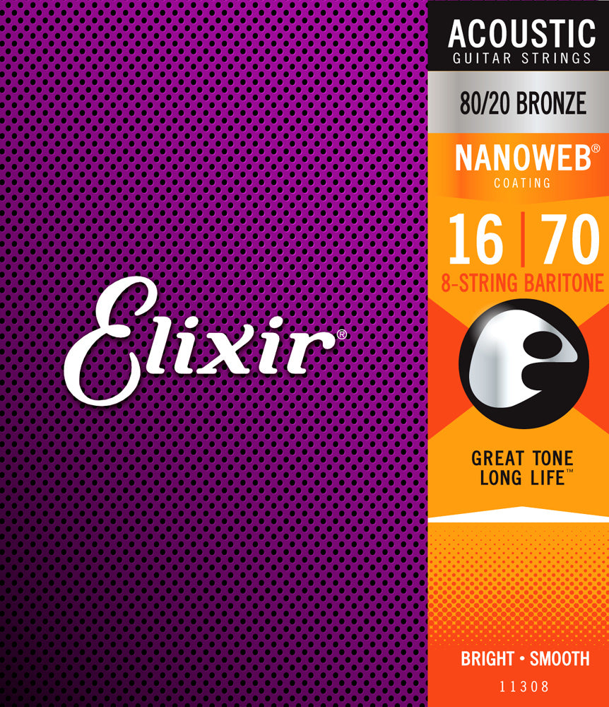 Elixir 11308 .014-.070 80/20 Bronze Nanoweb Baritone 8-String Acoustic Guitar Strings