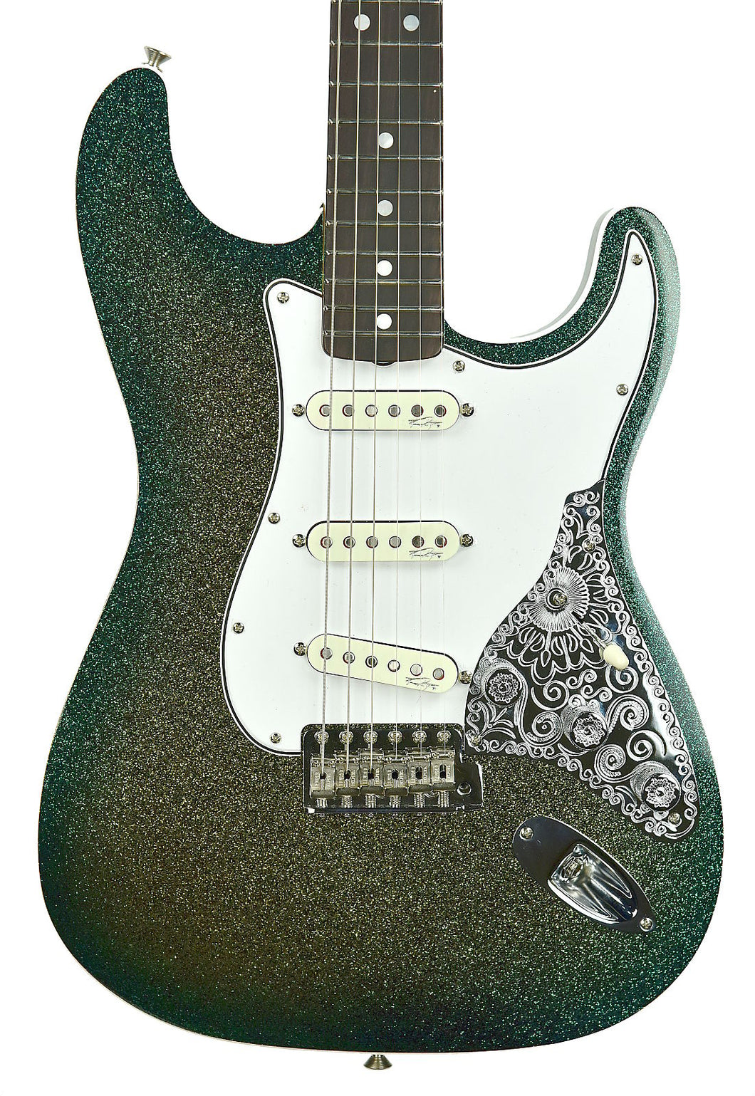Fender® Custom Shop Founder's Design Strat by Mark Kendrick in Golden Teal Sparkle | Front Small