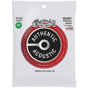 Martin MA500T .010-.047 Extra Light 12 String Phosphor Bronze Lifespan 2.0 Acoustic Guitar Strings