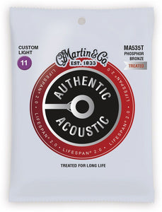 Martin MA535T .011-.052 Gauge Authentic Acoustic Lifespan 2.0 Treated Guitar Strings