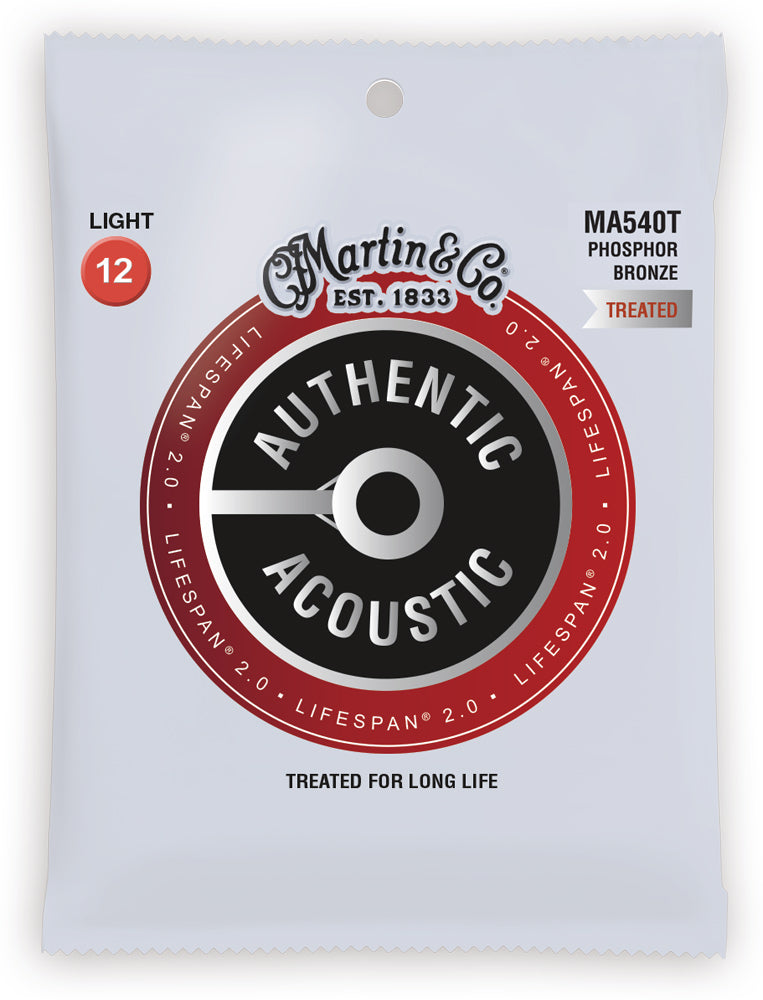 Martin MA540T .012-.054 Gauge Authentic Lifespan 2.0 Phosphor Bronze Acoustic Guitar Strings