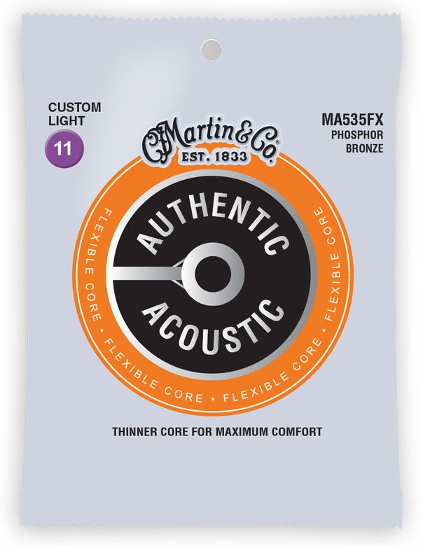 Martin MA535FX .011-.052 Custom Light Flexible Core Phosphor Bronze Acoustic Guitar Strings