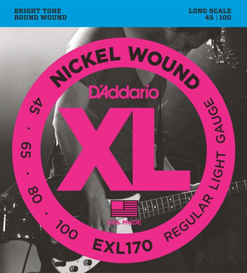 D'Addario EXL170 Nickel Wound Bright Round Wound Electric Bass Strings .045-.100 | The  Music Gallery