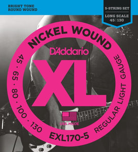 D'Addario EXL170-5 Nickel Wound Light Long Scale 5-String Bass Strings .045-.130