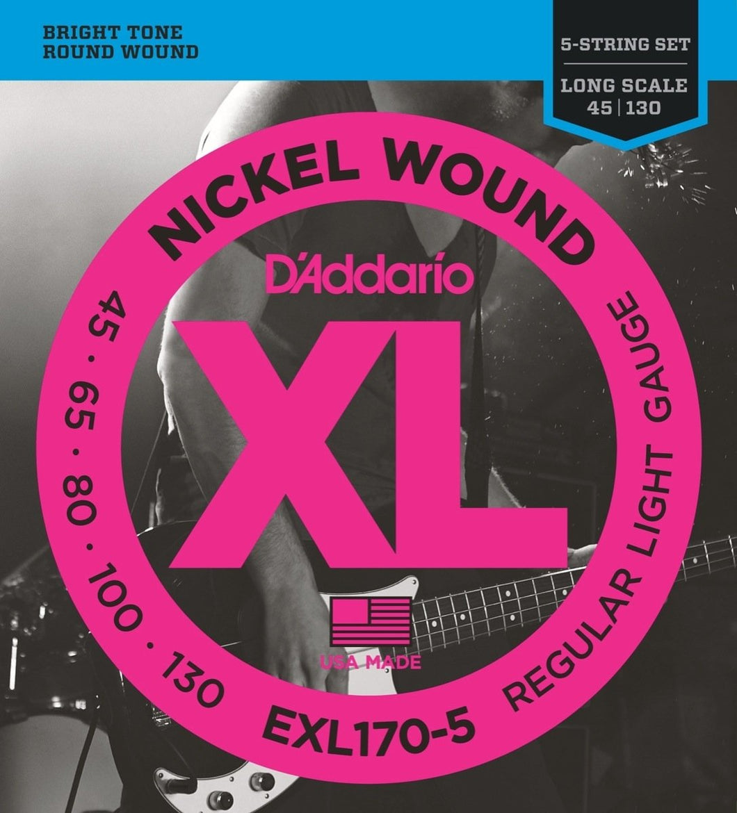 D'Addario EXL170-5 Nickel Wound Light Long Scale 5-String Bass Strings .045-.130 | The  Music Gallery