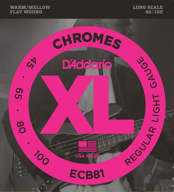 D'Addario ECB81 Chromes Light Long Scale Flatwound Bass Strings .045-.100 | The  Music Gallery