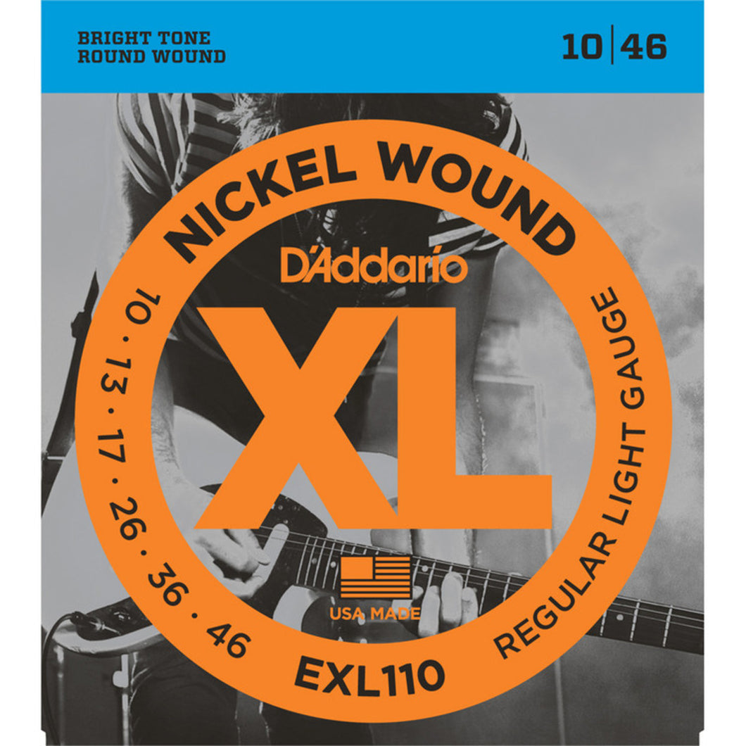 D'Addario Regular Light .010-.046 EXL110 Nickel Wound Regular Light Electric Guitar Strings | The  Music Gallery | Front Package