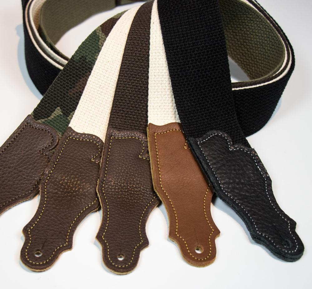 "Franklin 2"" Cotton Guitar Strap with Glove Leather End Tab"
