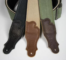 "Franklin 2"" Distressed Canvas Guitar Strap with Leather End Tab"