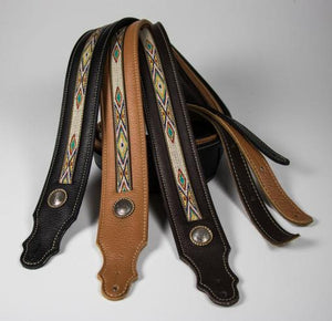 "Franklin 2"" Southwest Padded Leather Guitar Strap"