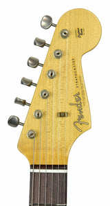 Fender Custom Shop 1963 Stratocaster Journeyman Relic in Ice Blue Metallic | Headstock Front | The Music Gallery