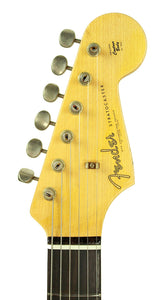 Fender Custom Shop 1963 Stratocaster Journeyman Relic in Candy Apple Red | Headstock Front | the Music Gallerry