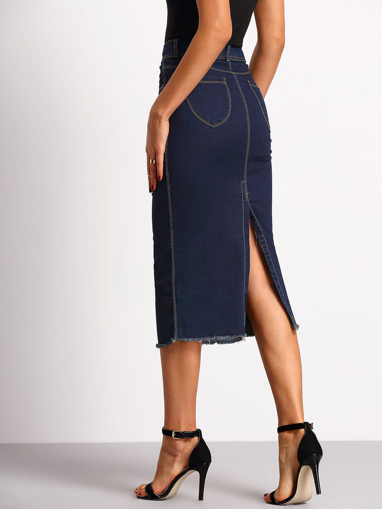 High Split Back Frayed Hem Denim Skirt (2)