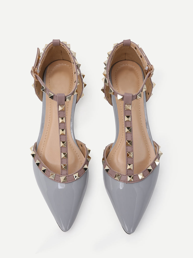 Grey Faux Patent Studded T-Strap Flats (3)