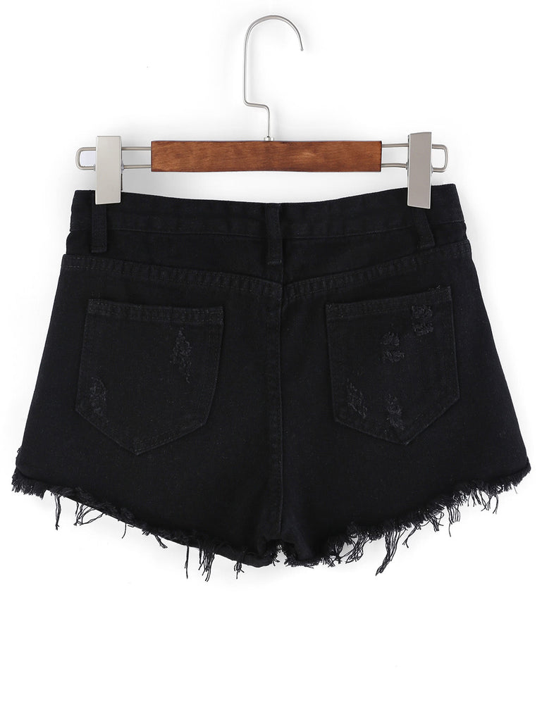 Frayed Hem Denim Shorts (2)