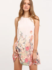 Floral Print Keyhole Back Tank Dress