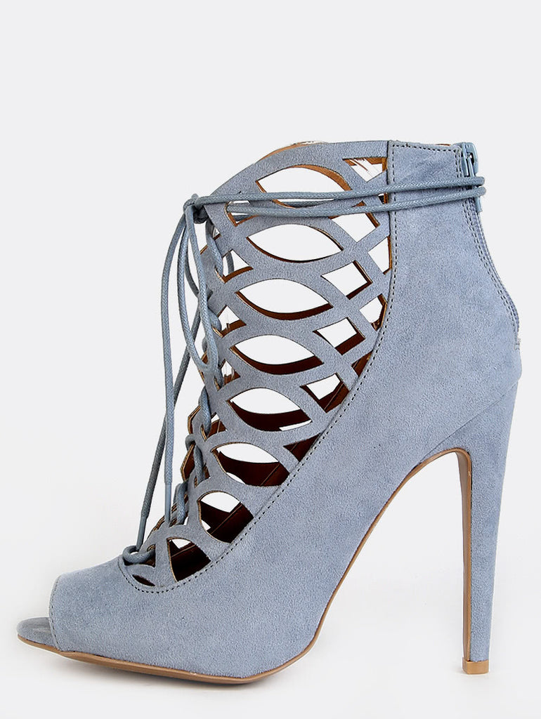 Pastel Cut Out Peep Toe Booties STORM BLUE