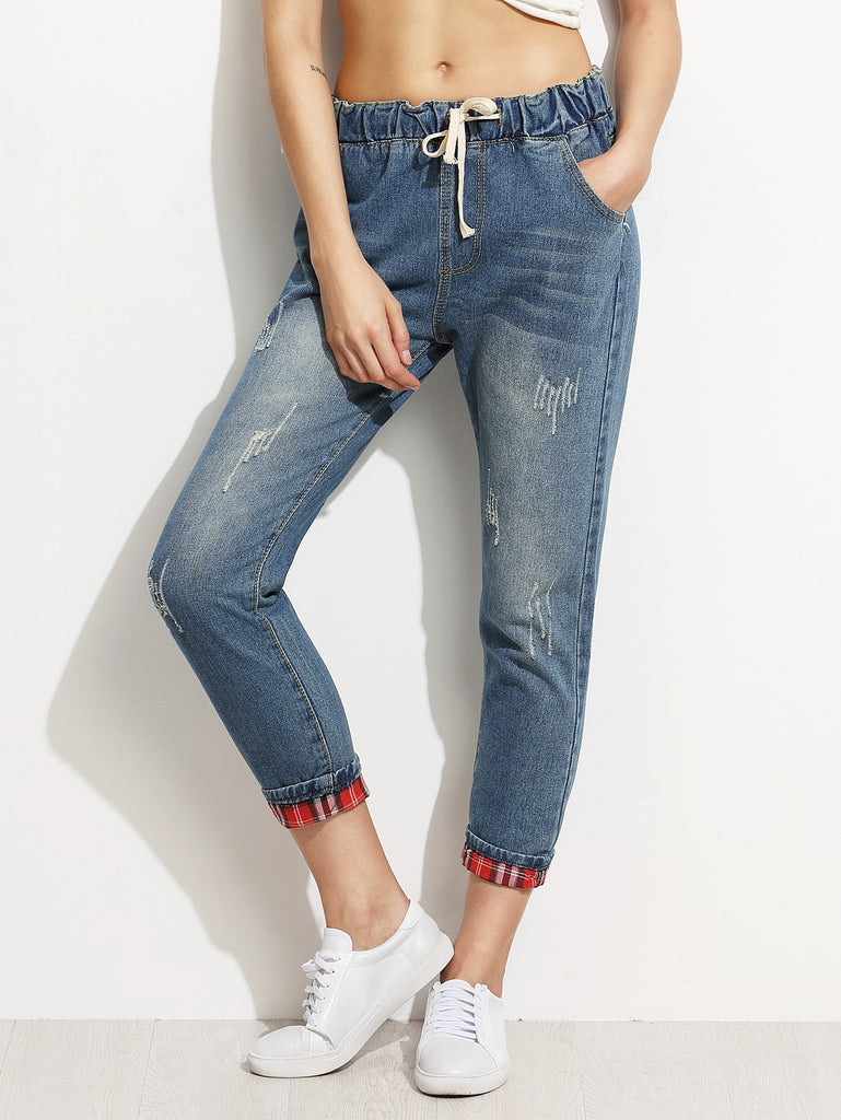 Blue Distressed Drawstring Jeans With Plaid Lining Detail