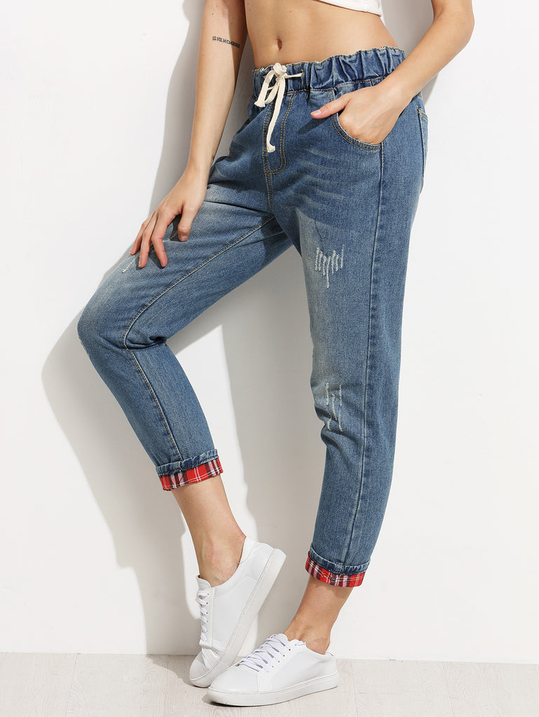 Blue Distressed Drawstring Jeans With Plaid Lining Detail (2)