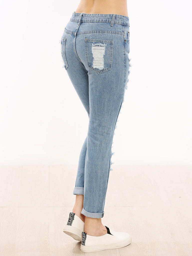 Distressed Cuffed Jeans (2)