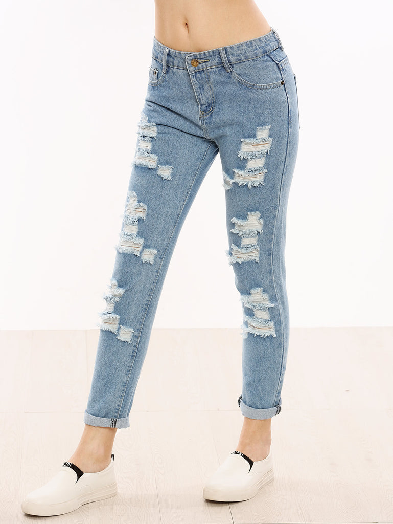 Distressed Cuffed Jeans (4)