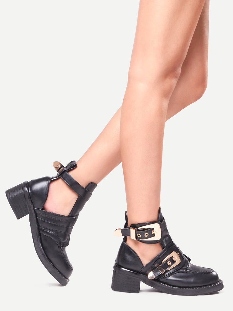 Buckle Strap Chunky Heel Shoes (2)