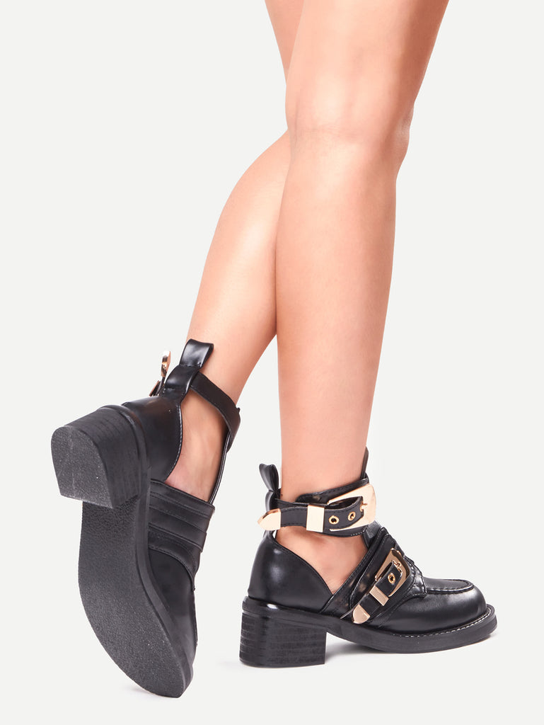 Buckle Strap Chunky Heel Shoes (3)