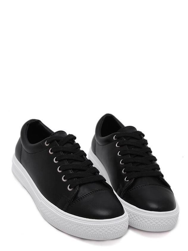 Black Round Toe Lace Up Sneakers (2)