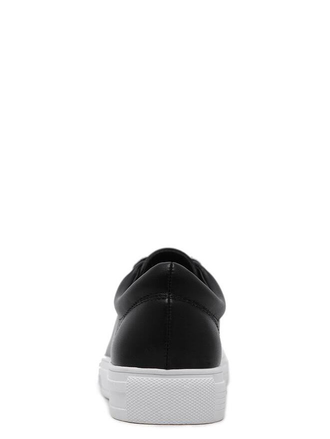 Black Round Toe Lace Up Sneakers (4)