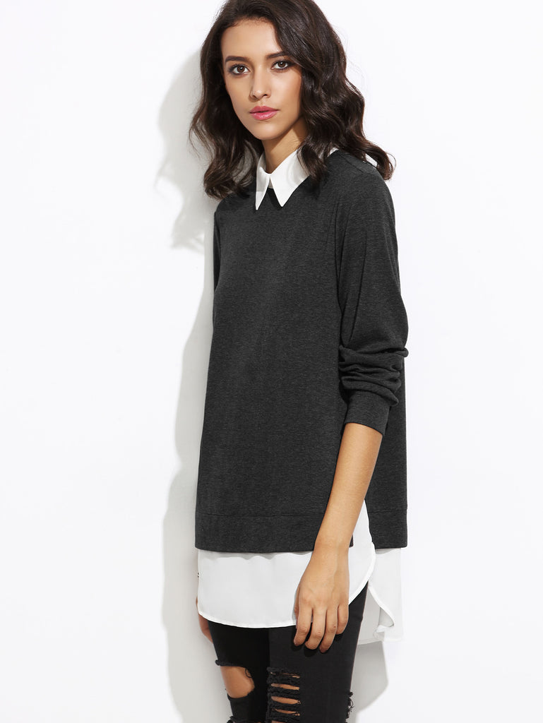 Contrast Collar Curved Hem 2 In 1 Pullover (2)