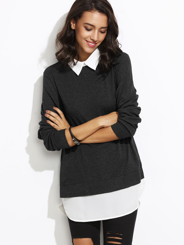 Contrast Collar Curved Hem 2 In 1 Pullover (4)