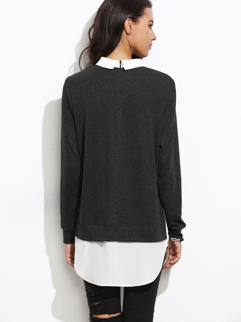 Contrast Collar Curved Hem 2 In 1 Pullover (3)