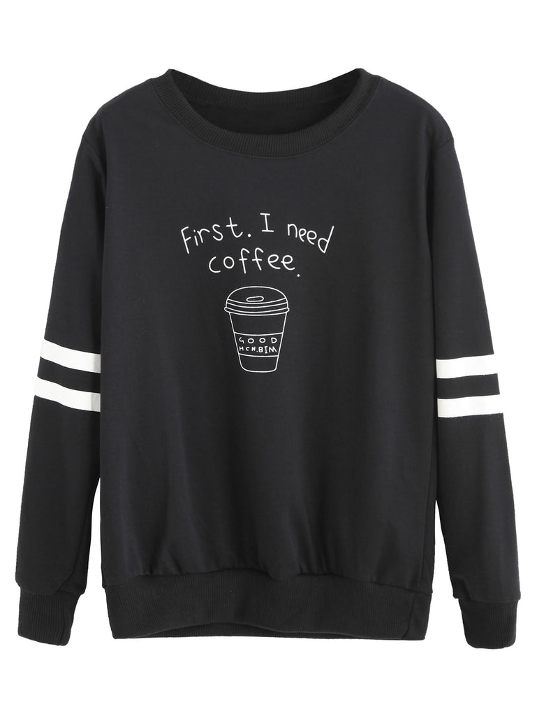 Coffee Cup Print Varsity Striped Pullover