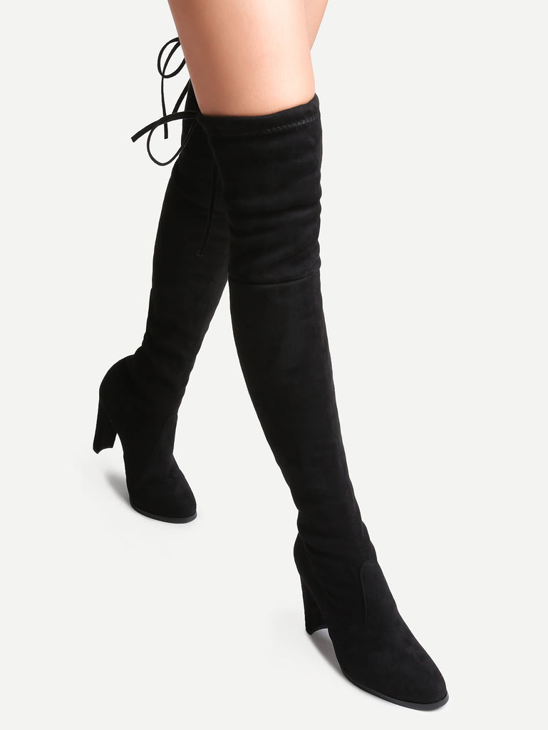 Black Suede Point Toe Lace Up Over The Knee Boots (2)