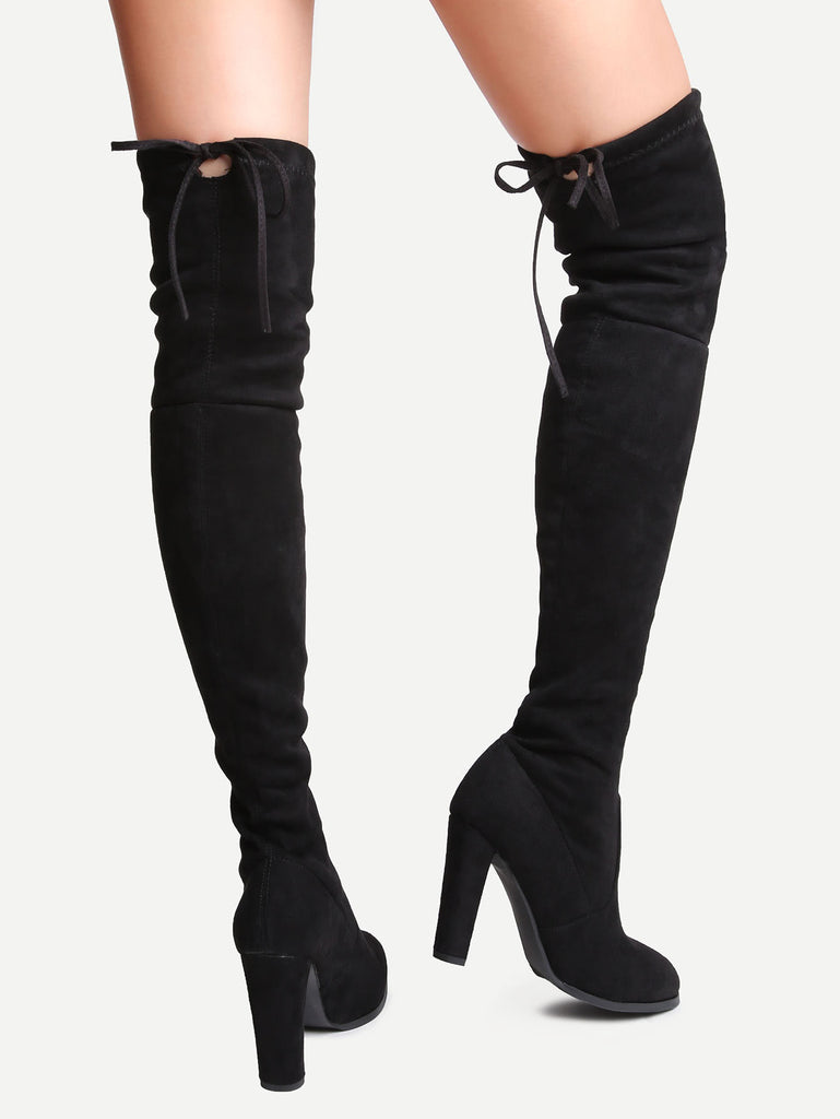 Black Suede Point Toe Lace Up Over The Knee Boots (3)