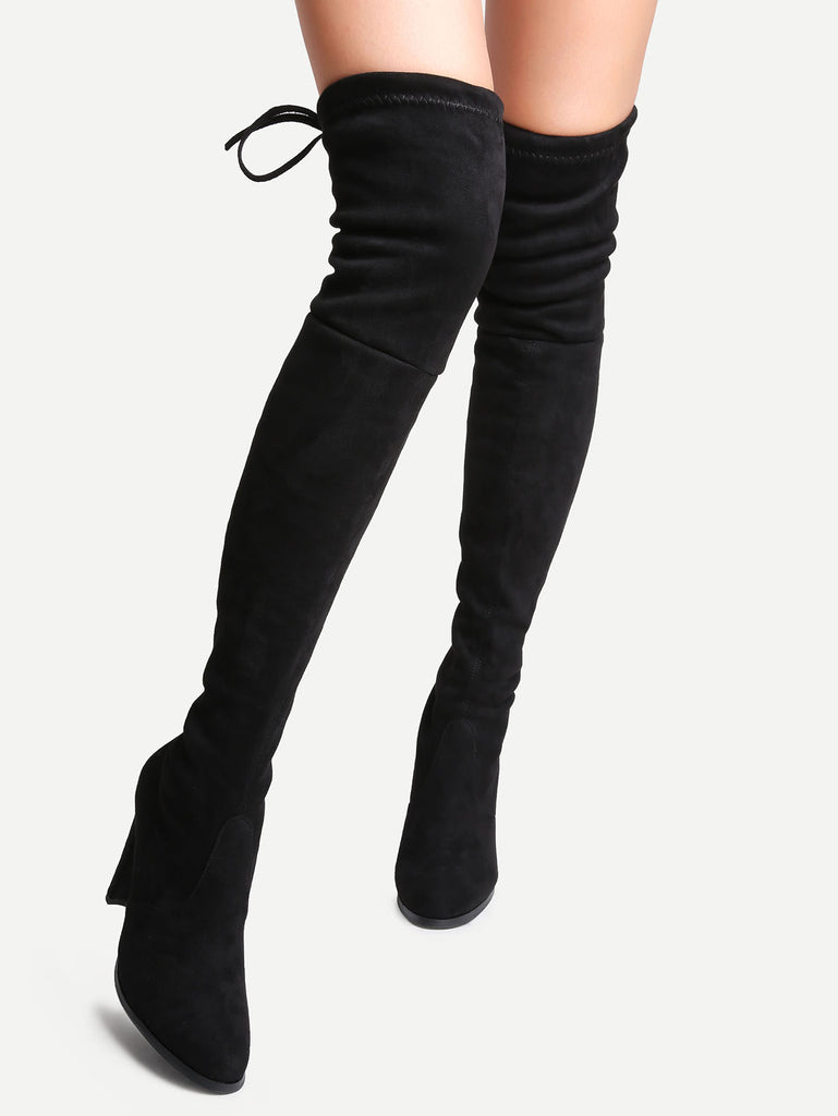 Black Suede Point Toe Lace Up Over The Knee Boots (4)